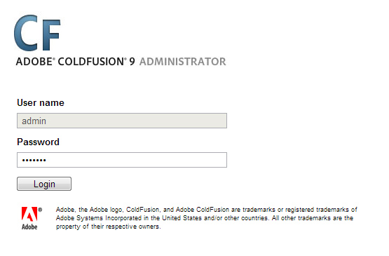 ColdFusion Administrator Log In Screen